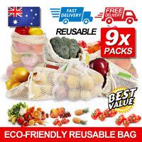 9X Eco-friendly Reusable Durable Produce Bags Cotton Mesh Packaging Fruit Bag AU