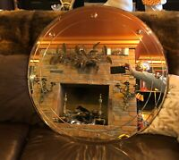"MID CENTURY MIRROR BEVELED EDGE ROUND 30"" ORNATE Wood Back Ready To Hang Beauty"