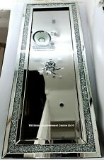 Diamond Crush Crystal Wall Mirror Large 180x70cm Sparkly Silver Full Length Tall