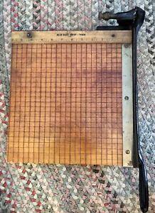 Antique Milton Bradley Paper Cutter 12'' Guillotine Shear Springfield Mass