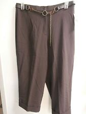 "Women's ""JM Collection"" Stretch Capri Pants, Size 14 BROWN NWT matching BELT"