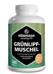 (€12,21/100g) Grünlippmuschel Pulver 500 mg hochdosiert 300 Kapseln für 100 Tage