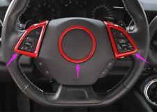 3PCS Red Interior Steering wheel cover Trim for Chevrolet Camaro 2017 2018