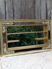 Vintage Mid Century Retro Shadow Box Large White Gold with mirror Shabby Chippy