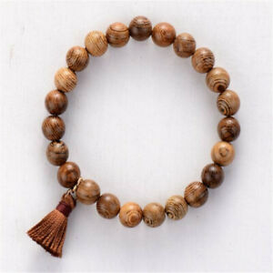 8mm Wenge Wood Beads Bracelet 7.5 inches Pray Men Stretchy Healing Mala Bless