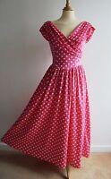 Vintage LAURA ASHLEY Pink White Spotty Long Dress Full Skirt Sz10 Fits an UK8