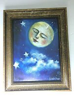 """The Moon Sleeping Framed Art Print Wall Mounted Signed By Nichola Moss 10.5"""" H"""