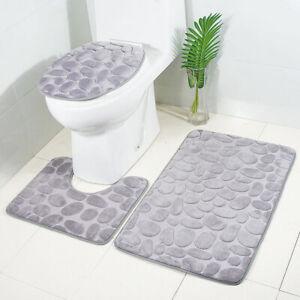 3xBathroomNon-Slip Carpet Set Pedestal Rug+Lid Toilet Seat Cover+Bath Mat Pad QN