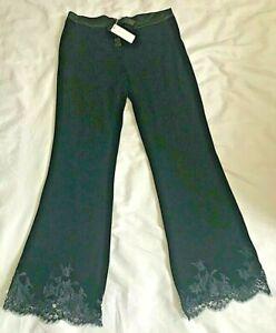 BNWT I D SARRIERI BLACK VELVET LACE TRIMMED LONG PANTS / LOUNGE / MORNING PJ'S