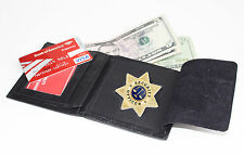 Black Leather Concealed Fire Security Star Badge Wallet ID Credit Card Case New