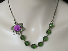 Flower Necklace Anthropologie Necklace Purple Necklace Green Necklace Women Jewe