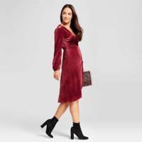 (603) A New Day Women's Burgundy Velvet Twist Front Dress long sleeve XS-XXl