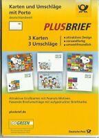 """Plusbrief - Set - """"Peanuts"""" - 3 Karten und Umschläge m. Porto postfrisch"""