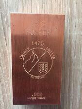 Lingot cuivre pur 1000g 1kg Swiss 999 copper ingot  Neuf,parfait investissement