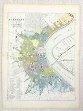 1881 Antique French Map Bordeaux Street City Plan France Old Hand Coloured