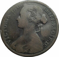 1860 UK Great Britain United Kingdom QUEEN VICTORIA Genuine Penny Coin i79486