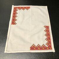 Vintage Embroidered Stitched Table Linen Square Aztec White Red Green 12""
