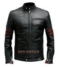 Fight Club Hybrid Mayhem Men's Slim Fit Red Stripes Black Biker Leather Jacket