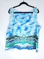 Live And Let Live Womens Plus Size 3X Mountains Sky Print Stretch Tank Top