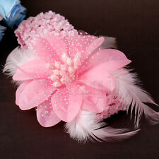 10PCs Pink Crochet Kid Baby Girl Feather Flower Headband Headwrap Hairband FO