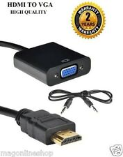 Black - HDMI to VGA Adaptor Converter Cable With Audio Stereo Sound AUX Cable