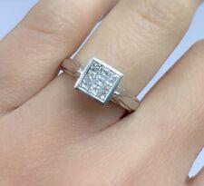 14k Solid White Gold Genius Princess Cut Diamond Invisible Setting Ring, Sz 6.75