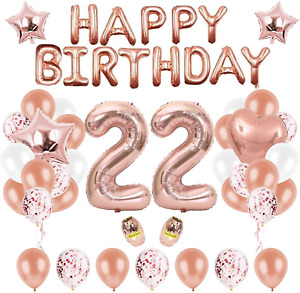 22nd Rose Gold Birthday Party Decorations Banner Happy Birthday Decorations Star