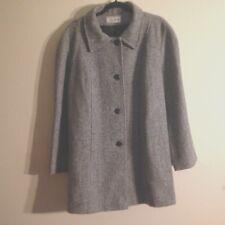 """Vintage Kay Boys Coat Peacoat Long Jacket Herringbone Tweed Wool Blend Bust 48"""""""