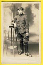 cpa Carte Photo 1917 MILITAIRE CAVALIER 1 sur Casquette Cravache H. PHILIBERT