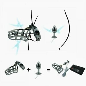 E-Stim Electro Shock Pulse Metal Chastity Cage Torpedo Plug Physical Therapy