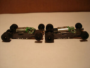 2 TOMY AFX H.O. SCALE MEGA G+ 1.7 NARROW CHASSIS WITH BLACK RIMS SEE DETAILS