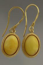 Egg Yolk Genuine BALTIC AMBER Gold Plated Silver Earrings 3.7g 180611-4