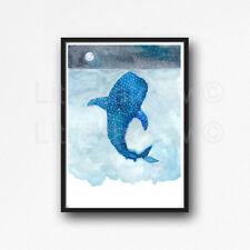 Whale Shark Under The Sea Watercolour Painting PRINT 8x10 Wall Art Whale