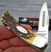 Winchester Small Stag Lockback Clip Point Blade Traditional Folding Pocket Knife