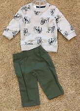 NWT Boy's Gray Long Sleeve Lions Elephants Top Green Pant 2pc 18 Months