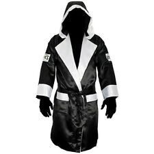 Cleto Reyes Satin Boxing Robe with Hood - Black/White