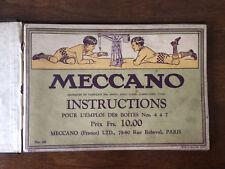 RARE LIVRET D'INSTRUCTIONS MECCANO BOITES 2 ET 4 A 7 DEBUT XXEME JEU CONTRUCTION