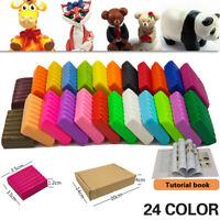 24 color Soft Polymer Clay Kit Modelling Moulding DIY Set Toys w/ Instruction