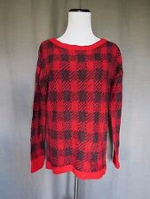 Express Red & Black Plaid Knit Sweater- S