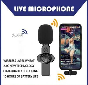 Wireless Lavalier Microphone Mic  For iPhone and Android Vlog Live Stream NEW