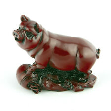 Chinois Zodiaque Cochon Statue Sanglier Figurine Feng Shui Animal Redwood Color