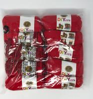 NIB Lion brand Acrylic 4 ply yarn 10 Skeins per bag 650 yards Color RED MSRP $45