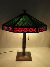 FANTASTIC C. 1910 BRADLEY & HUBBARD ALL ORIGINAL SLAG GLASS LAMP W/ COPPER BASE