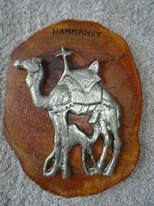 RETRO HOLIDAY SOUVENIR - METAL CAMEL ON WOODEN PLAQUE -HAMMAMET TUNISIA