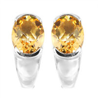 100% NATURAL 10X8MM CITRINE CHECKERBOARD CUT RARE STERLING SILVER 925 EARRING