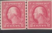 ORLEY STAMPS US  Coil Line Pair: Scott #413  2c Washington 1912 Mint OG NH $575
