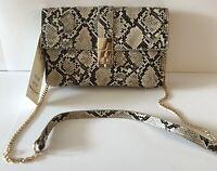 New MADISON WEST Los Angeles Crossbody Envelope Women's Handbag TAUPE SNAKE