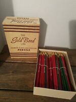 Vintage New Unused Gold Bond Line Advertising Pencils w Box 102 pcs Teacher Gift