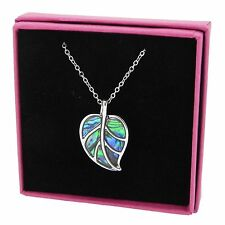 Leaf Necklace Abalone Paua Shell Pendant Silver Plated Jewellery 18 inch 45cm