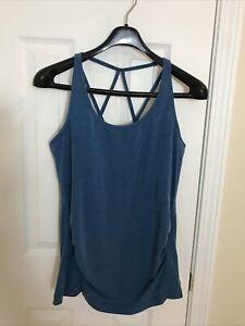 GAP Fit  Breathe Womens Shelf Bra Tank Top Sleeveless Strap Back Shirt Blue Sz M